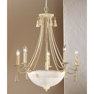 Rope and Tassel 8-Light Candle-Style Chandelier Finish: Ivory