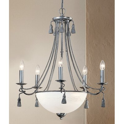 Rope and Tassel 8-Light Candle-Style Chandelier Finish: Pewter