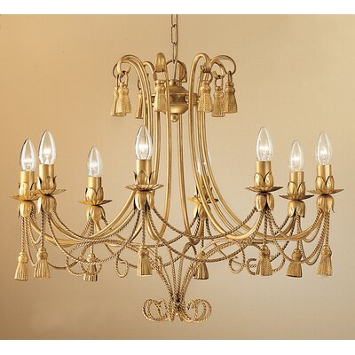 Rope and Tassel 8-Light Candle-Style Chandelier Finish: French Gold