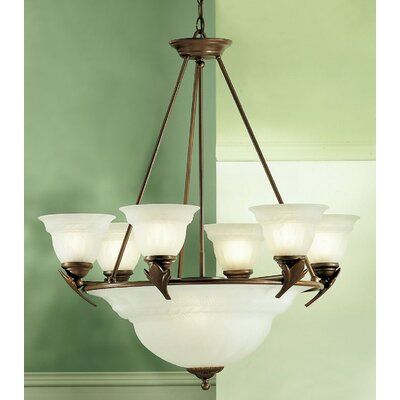 Roma 9-Light Shaded Chandelier Finish: English Bronze