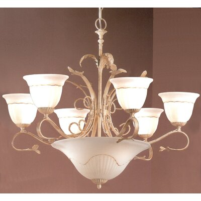 Treviso 9-Light Shaded Chandelier Finish: Ivory