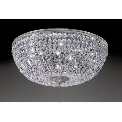 Crystal Baskets 10-Light Semi-Flush Mount Crystal Type: Italian, Finish: Millenium Silver