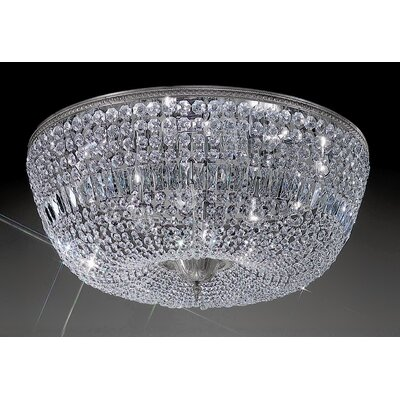 Crystal Baskets 12-Light Semi-Flush Mount Crystal Type: Crystalique-Plus, Finish: Millenium Silver