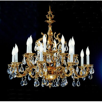 Barcelona 16-Light Crystal Chandelier Crystal Type: Swarovski Elements, Finish: Olde World Bronze
