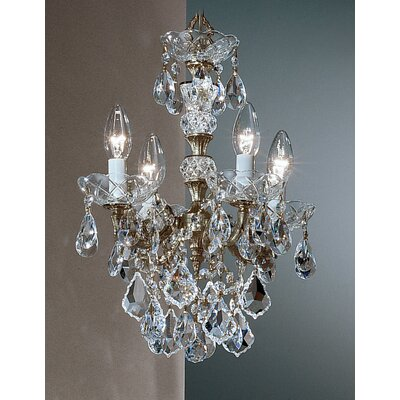 Madrid Imperial 4-Light Crystal Chandelier Crystal Type: Crystalique Golden Teak, Finish: Roman Bronze