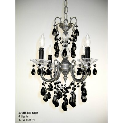 Via Venteo 4-Light Crystal Chandelier Crystal Type: Crystalique Black, Finish: Roman Bronze