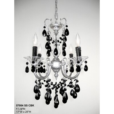 Via Venteo 4-Light Crystal Chandelier Crystal Type: Crystalique Black, Finish: Silverstone