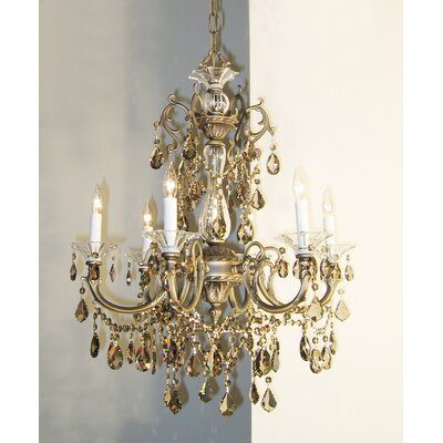 Via Venteo 6-Light Crystal Chandelier Crystal Type: Crystalique Golden Teak, Finish: Roman Bronze