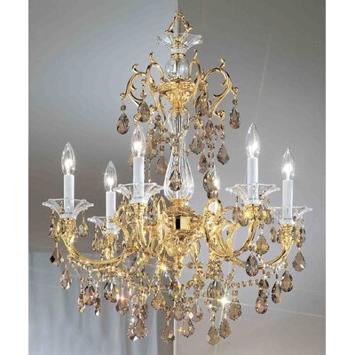 Via Venteo 6-Light Crystal Chandelier Crystal Type: Crystalique Golden Teak, Finish: 24k Gold Plate