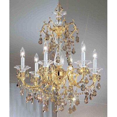 Via Venteo 6-Light Crystal Chandelier Finish: 24k Gold Plate, Crystal Type: Crystalique Golden Teak