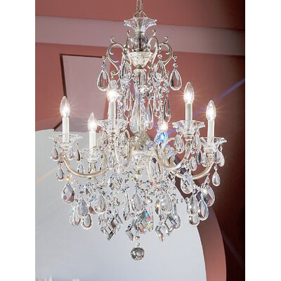 Via Venteo 6-Light Crystal Chandelier Finish: Millenium Silver, Crystal Type: Crystalique Black