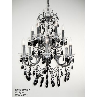 Via Venteo 12-Light Crystal Chandelier Finish: Ebony Pearl, Crystal Type: Crystalique Black