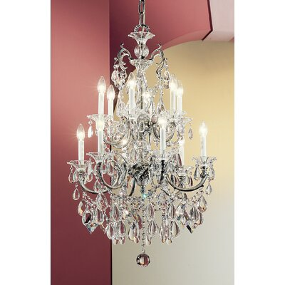 Via Venteo 12-Light Crystal Chandelier Finish: 24k Gold Plate, Crystal Type: Crystalique Black