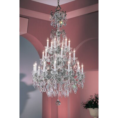 Via Venteo 24-Light Crystal Chandelier Crystal Type: Crystalique Golden Teak, Finish: Millenium Silver