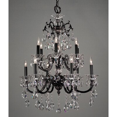Via Lombardi 12-Light Crystal Chandelier Finish: 24k Gold Plate, Crystal Type: Crystalique Black