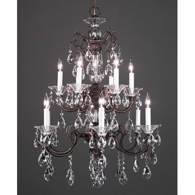 Via Lombardi 12-Light Crystal Chandelier Crystal Type: Crystalique-Plus, Finish: Roman Bronze