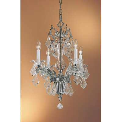 Via Firenze 4-Light Crystal Chandelier Crystal Type: Italian Rock Clear, Finish: Millenium Silver