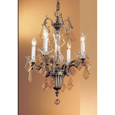 Via Firenze 4-Light Crystal Chandelier Crystal Type: Italian Rock Amber, Finish: Roman Bronze