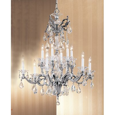 Via Firenze 12-Light Crystal Chandelier Crystal Type: Crystalique, Finish: Millenium Silver