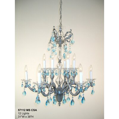 Via Firenze 12-Light Crystal Chandelier Finish: Millenium Silver, Crystal Type: Crystalique Sapphire