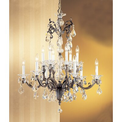 Via Firenze 12-Light Crystal Chandelier Crystal Type: Crystalique, Finish: Roman Bronze