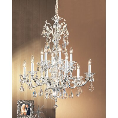 Via Firenze 12-Light Crystal Chandelier Crystal Type: Italian Rock Clear, Finish: Silver Plate