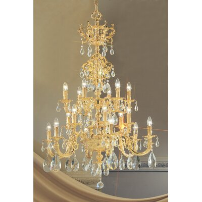 Princeton 18-Light Candle-Style Chandelier Finish: 24K Gold Plate, Crystal Type: Without Crystal