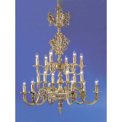 Princeton 18-Light Candle-Style Chandelier Finish: Satin Bronze, Crystal Type: Without Crystal