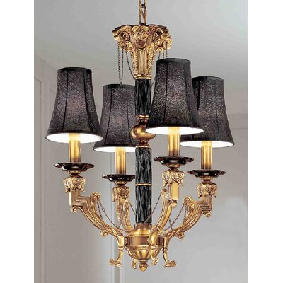 Duke 4-Light Shaded Chandelier Shade Color: Black