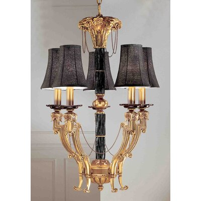 Duke 5-Light Shaded Chandelier Shade Color: Black