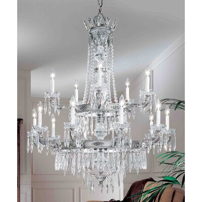 Duchess 15-Light Crystal Chandelier Crystal Type: Italian, Finish: Millenium Silver