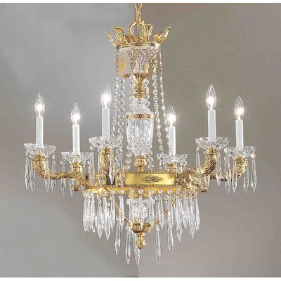 Duchess 6-Light Crystal Chandelier Crystal Type: Italian, Finish: Bronze with Black Patina