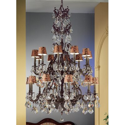 Majestic 20-Light Shaded Chandelier Crystal Type: Crystalique Golden Teak, Finish: Aged Pewter
