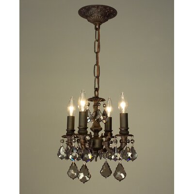 Majestic 4-Light Crystal Chandelier Finish: Aged Bronze, Crystal Type: Crystalique Black