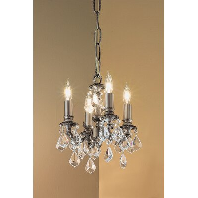 Majestic 4-Light Crystal Chandelier Crystal Type: Swarovski Spectra, Finish: Aged Pewter