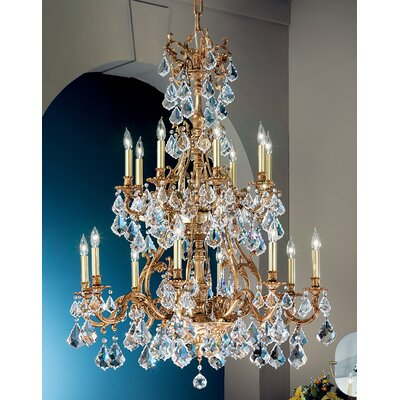 Majestic 16-Light Crystal Chandelier Crystal Type: Crystalique Golden Teak, Finish: Aged Pewter