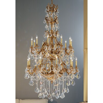 Majestic Imperial 20-Light Crystal Chandelier Crystal Type: Crystalique Golden Teak, Finish: Aged Pewter