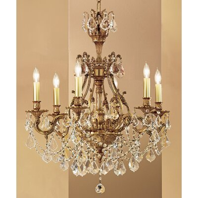 Majestic Imperial 6-Light Crystal Chandelier Crystal Type: Crystalique Golden Teak, Finish: French Gold