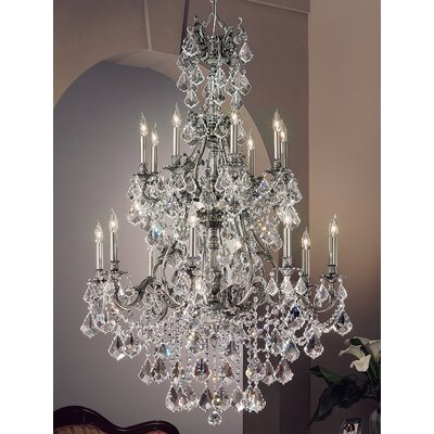 Majestic Imperial 16-Light Crystal Chandelier Crystal Type: Crystalique Black, Finish: Aged Pewter