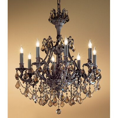 Majestic Imperial 8-Light Crystal Chandelier Crystal Type: Crystalique-Plus, Finish: Aged Pewter
