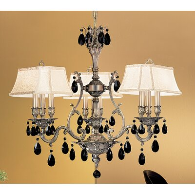 Majestic 9-Light Shaded Chandelier Crystal Type: Crystalique Golden Teak, Finish: French Gold