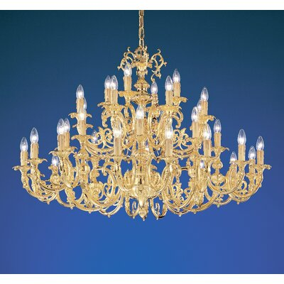 Princeton 36-Light Crystal Chandelier Finish: 24K Gold Plate, Crystal Type: Without Crystal