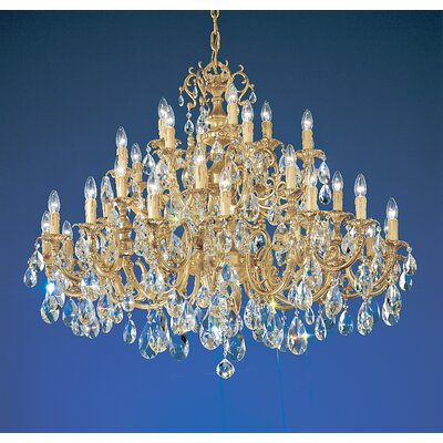 Princeton 36-Light Crystal Chandelier Crystal Type: Without Crystal, Finish: Satin Bronze
