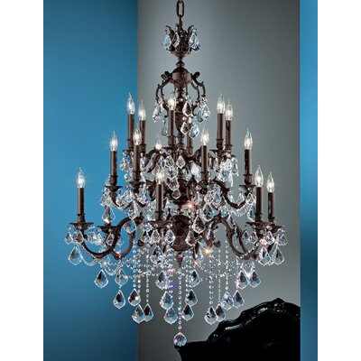 Chateau Imperial 18-Light Crystal Chandelier Finish: Aged Bronze, Crystal Type: Swarovski Elements Golden Teak
