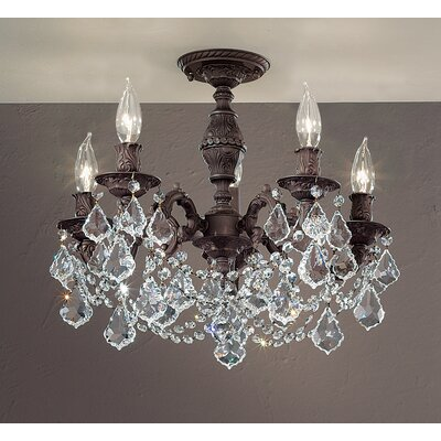 Chateau Imperial 5-Light Semi-Flush Mount Crystal Type: Crystalique Golden Teak, Finish: Aged Pewter
