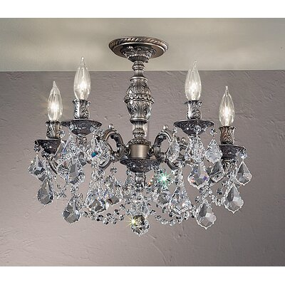 Chateau Imperial 5-Light Semi-Flush Mount Crystal Type: Crystalique-Plus, Finish: Aged Pewter