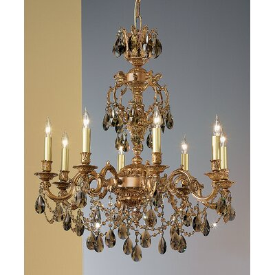 Chateau Imperial 8-Light Crystal Chandelier Crystal Type: Crystalique Golden Teak, Finish: Aged Pewter