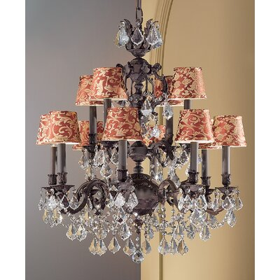 Chateau Imperial 12-Light Shaded Chandelier Crystal Type: Crystalique Black, Finish: Aged Pewter