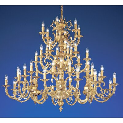 Princeton 48-Light Candle-Style Chandelier Finish: Satin Bronze, Crystal Type: Without Crystal