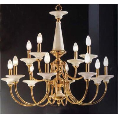 Spanish Ceramic 12-Light Candle-Style Chandelier